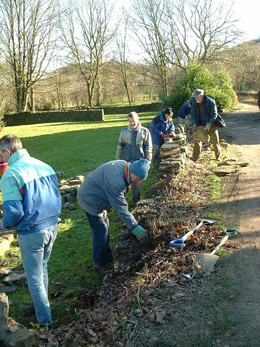 dry stone walling at beauchief abbey